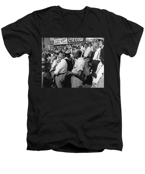 Fans At Yankee Stadium Stand For The National Anthem At The Star Men's V-Neck T-Shirt by Underwood Archives