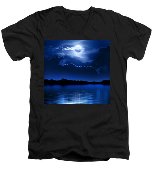 Fantasy Moon And Clouds Over Water Men's V-Neck T-Shirt by Johan Swanepoel