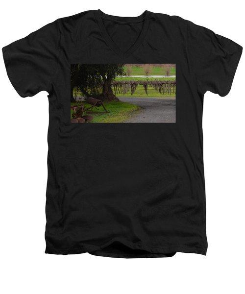 Farm And Vineyard Men's V-Neck T-Shirt by Cheryl Miller