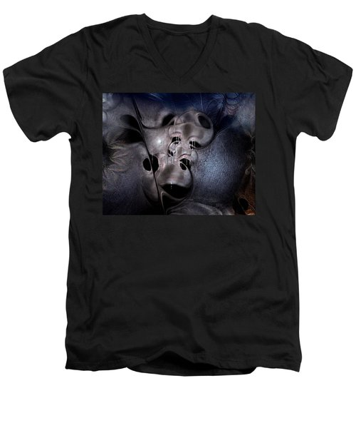Men's V-Neck T-Shirt featuring the digital art Farmaceutical Future by Casey Kotas
