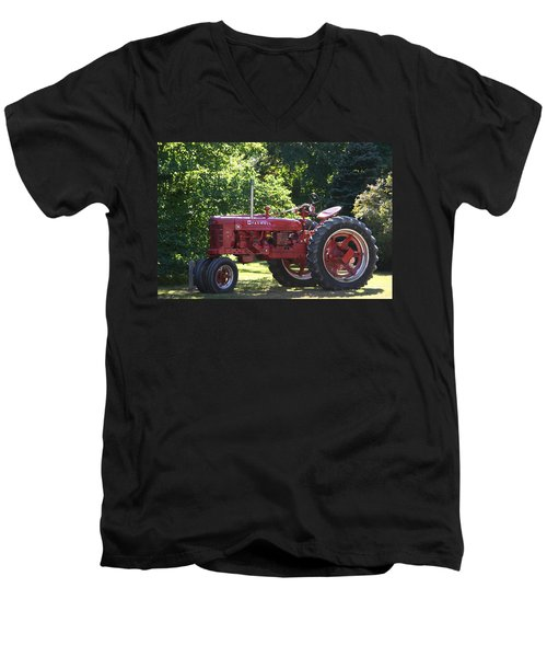 Farmall's End Of Day Men's V-Neck T-Shirt by Denyse Duhaime