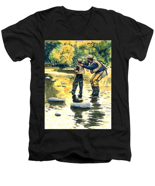 Father And Son Men's V-Neck T-Shirt by John D Benson