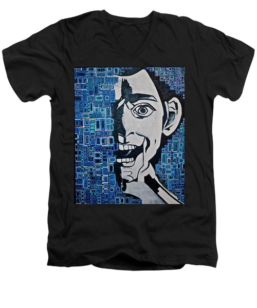 Men's V-Neck T-Shirt featuring the painting Fats And The Raven by Donna Howard