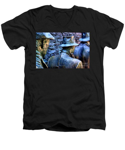 Men's V-Neck T-Shirt featuring the photograph Franklin Roosevelt   Memorial Washington Dc by John S