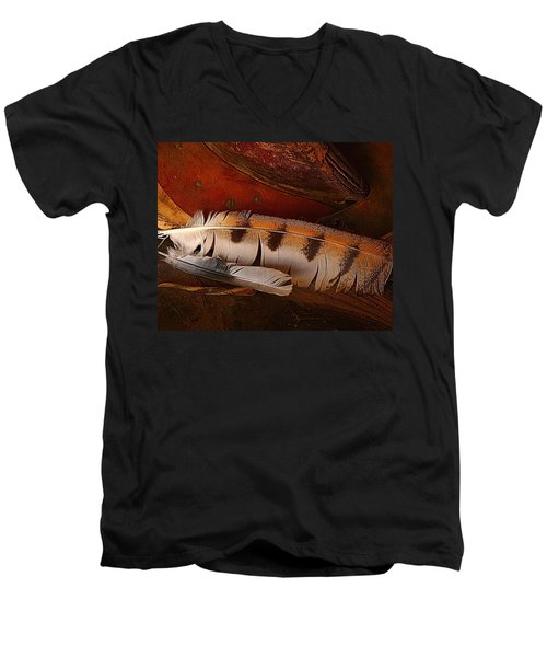 Feather And Leather Men's V-Neck T-Shirt