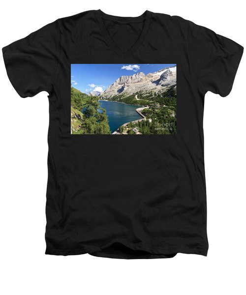 Men's V-Neck T-Shirt featuring the photograph Fedaia Pass With Lake by Antonio Scarpi