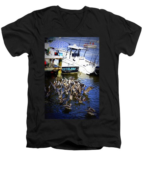 Men's V-Neck T-Shirt featuring the photograph Feeding Frenzy by Laurie Perry