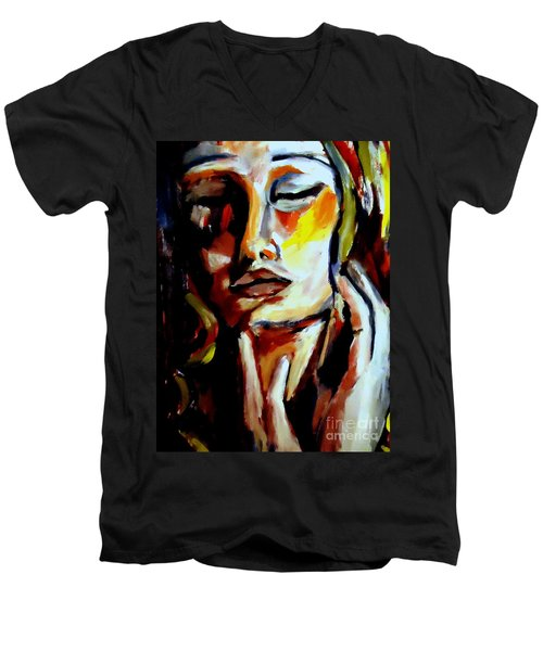 Men's V-Neck T-Shirt featuring the painting Feel by Helena Wierzbicki