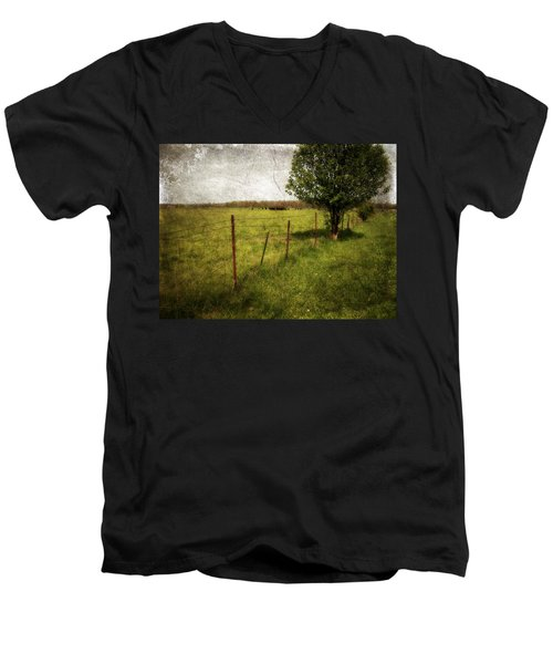Fence With Tree Men's V-Neck T-Shirt