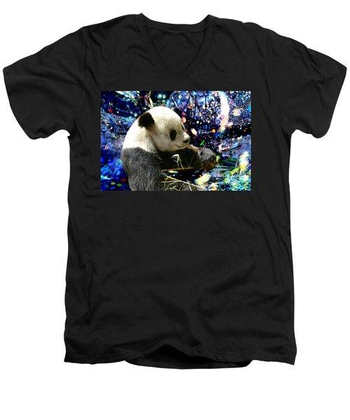 Festive Panda Men's V-Neck T-Shirt by Mariola Bitner