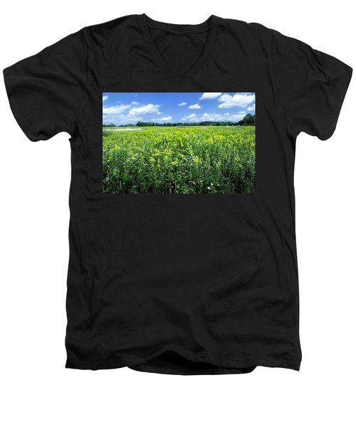 Field Of Flowers Sky Of Clouds Men's V-Neck T-Shirt