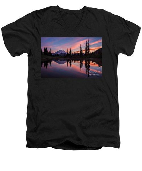 Fiery Rainier Sunset Men's V-Neck T-Shirt