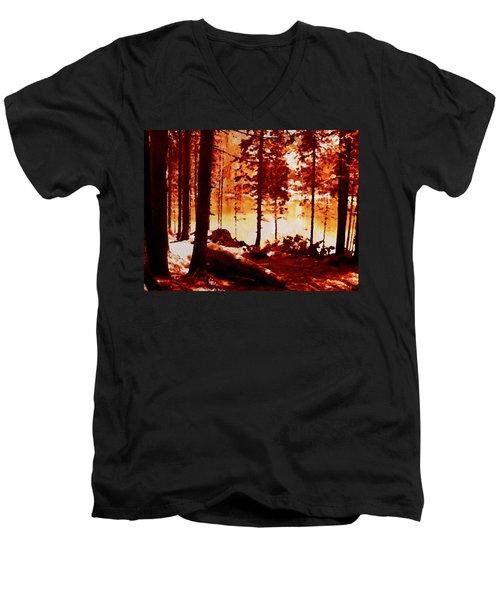Fiery Red Landscape Men's V-Neck T-Shirt