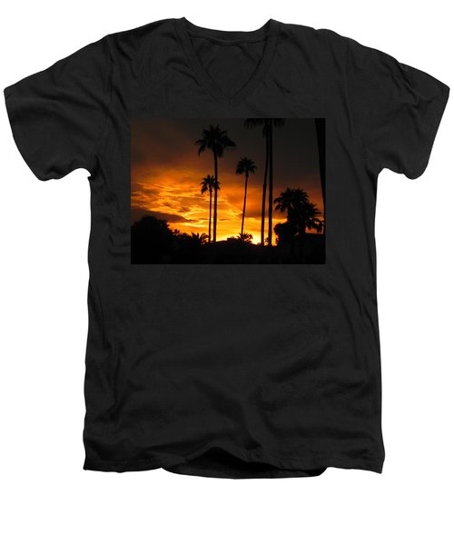 Men's V-Neck T-Shirt featuring the photograph Fiery Sunset by Deb Halloran