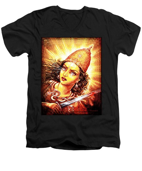 Fighting Goddess Men's V-Neck T-Shirt by Ananda Vdovic
