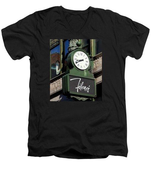 Men's V-Neck T-Shirt featuring the photograph Filene's Basement Clock by Caroline Stella