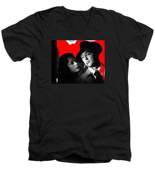 Film Noir Jane Greer Robert Mitchum Out Of The Past 1947 Rko Color Added 2012 Men's V-Neck T-Shirt