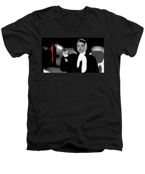 Film Noir Joan Crawford Jack Palance Sudden Fear 1952 Rko Publicity Photo Color Added 2012 Men's V-Neck T-Shirt