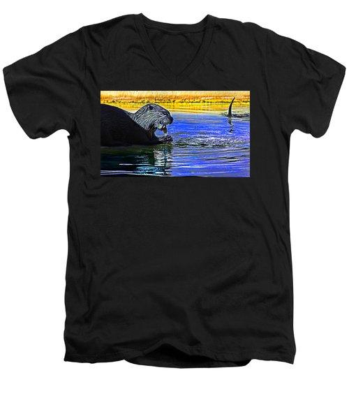 Find A Crab  Crunch A Crab Men's V-Neck T-Shirt