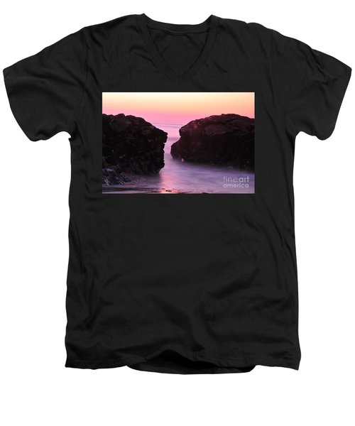 Fine Art Water And Rocks Men's V-Neck T-Shirt