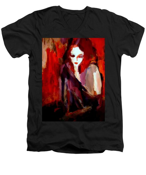 Men's V-Neck T-Shirt featuring the painting Finesse by Helena Wierzbicki