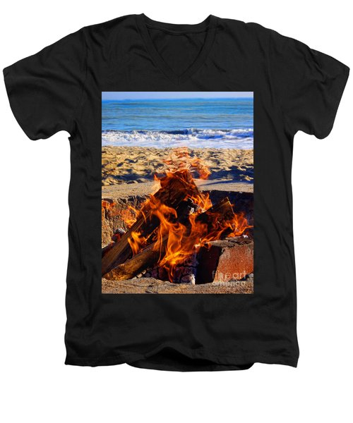 Men's V-Neck T-Shirt featuring the photograph Fire At The Beach by Mariola Bitner