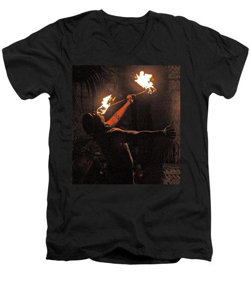 Fire Dancer Men's V-Neck T-Shirt