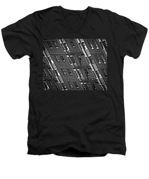 Fire Escape - Monochrome Men's V-Neck T-Shirt by Mark Alder