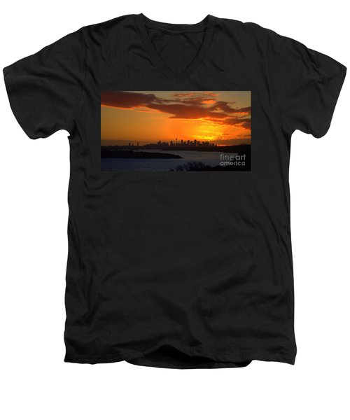 Men's V-Neck T-Shirt featuring the photograph Fire In The Sky by Miroslava Jurcik