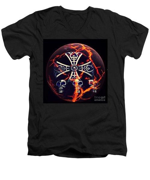 Fire Skulls Men's V-Neck T-Shirt