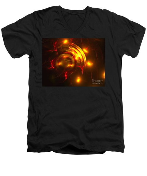 Men's V-Neck T-Shirt featuring the digital art Fire Storm by Victoria Harrington