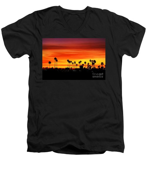 Men's V-Neck T-Shirt featuring the photograph Fire Sunset In Long Beach by Mariola Bitner