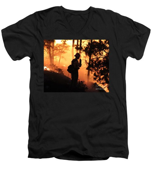 Firefighter At Night On The White Draw Fire Men's V-Neck T-Shirt