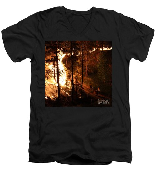 Men's V-Neck T-Shirt featuring the photograph Firefighters Burn Out On The White Draw Fire by Bill Gabbert