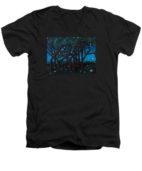 Men's V-Neck T-Shirt featuring the painting Fireflies by Cheryl Bailey