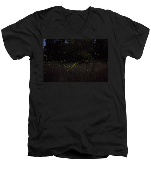 Firefly Traces On A Summer Night Men's V-Neck T-Shirt
