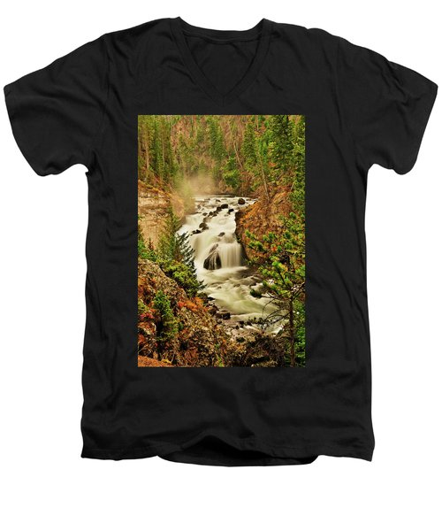 Firehole Falls Men's V-Neck T-Shirt by Greg Norrell