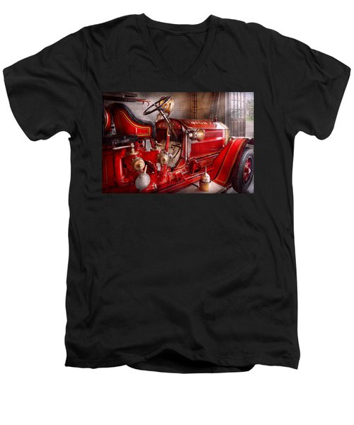 Fireman - Truck - Waiting For A Call Men's V-Neck T-Shirt