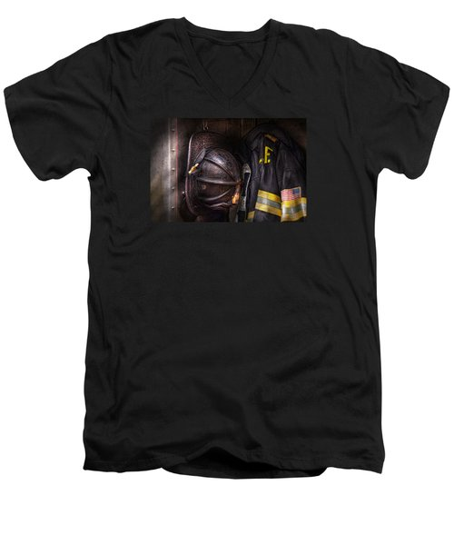 Fireman - Worn And Used Men's V-Neck T-Shirt by Mike Savad