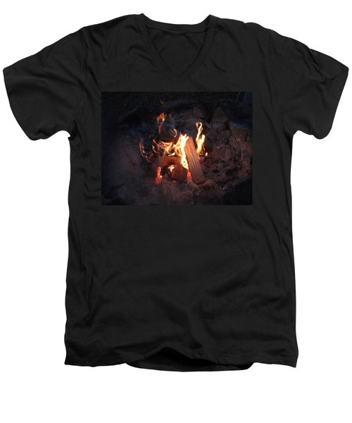Men's V-Neck T-Shirt featuring the photograph Fireside Seat by Michael Porchik