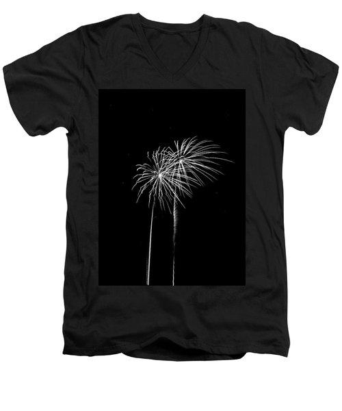 Firework Palm Trees Men's V-Neck T-Shirt by Darryl Dalton