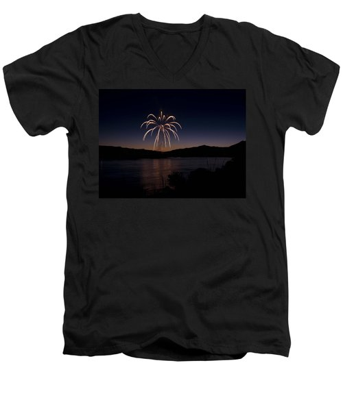 Men's V-Neck T-Shirt featuring the photograph Fireworks 11 by Sonya Lang
