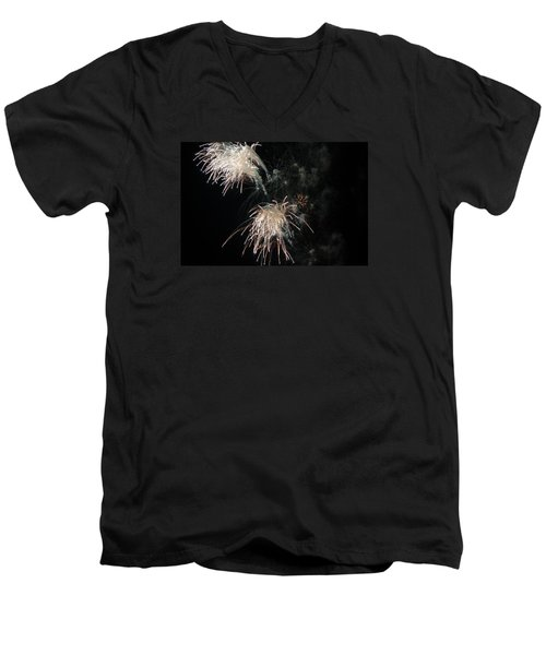 Men's V-Neck T-Shirt featuring the photograph Fireworks 3 by Susan  McMenamin