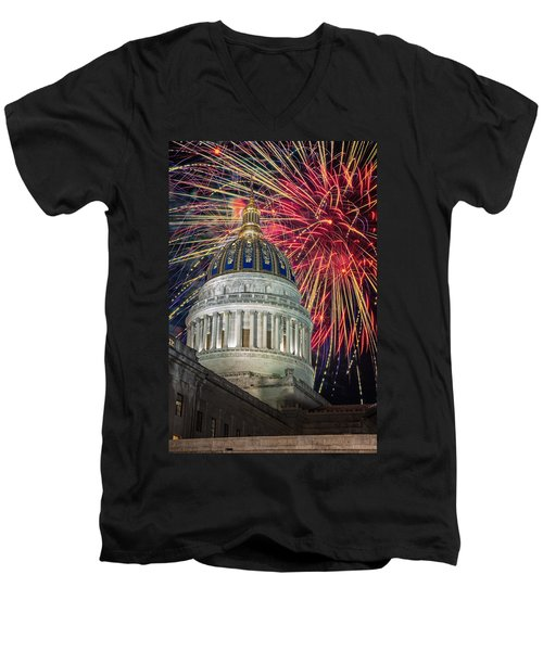 Fireworks At Wv Capitol Men's V-Neck T-Shirt by Mary Almond