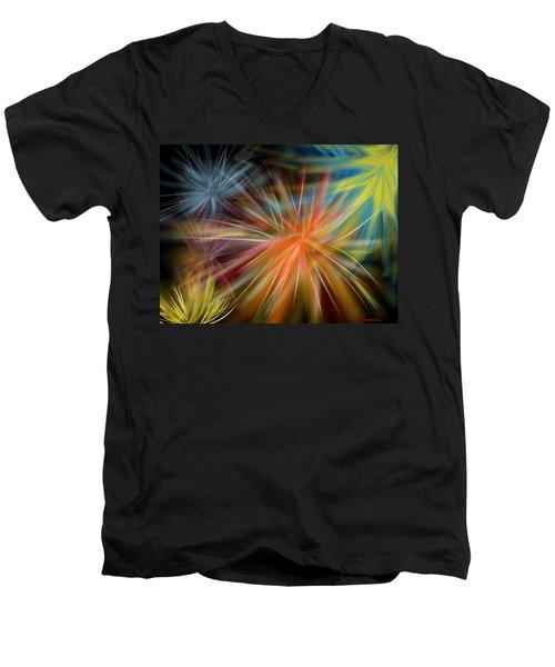 Men's V-Neck T-Shirt featuring the digital art Fireworks by Christine Fournier
