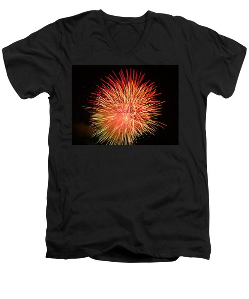 Men's V-Neck T-Shirt featuring the photograph Fireworks  by Michael Porchik