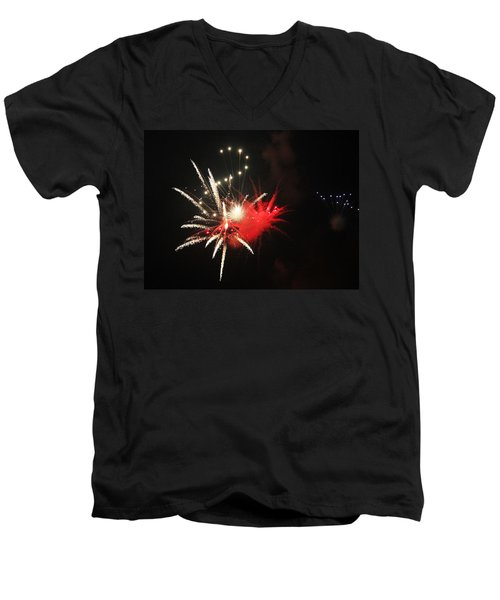 Fireworks Men's V-Neck T-Shirt by Rowana Ray