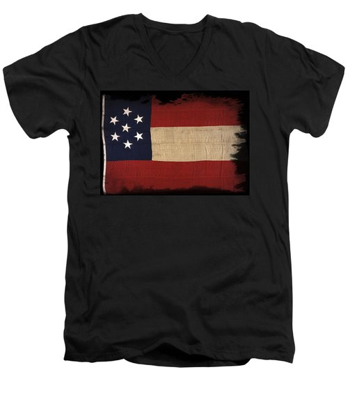First Confederate Flag Men's V-Neck T-Shirt by Daniel Hagerman