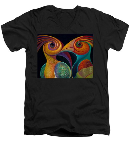First Flight 1 Men's V-Neck T-Shirt by Claudia Goodell