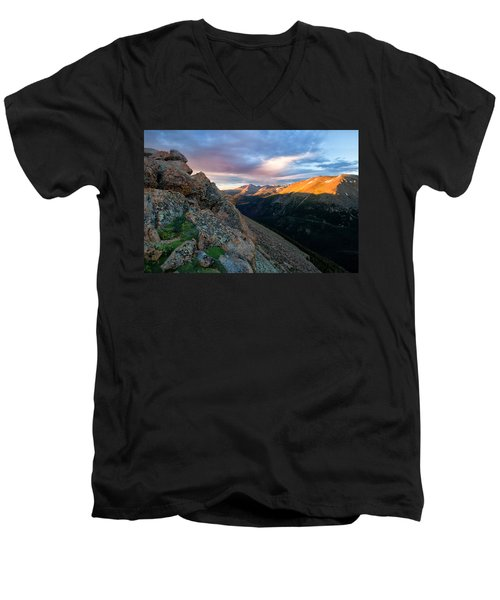 First Light On The Mountain Men's V-Neck T-Shirt by Ronda Kimbrow